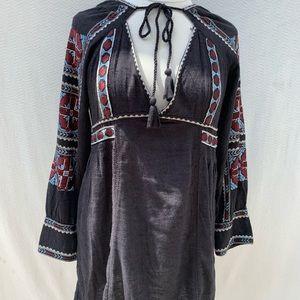 Free People Dresses - Free People Black Blue Embroidery Dress M